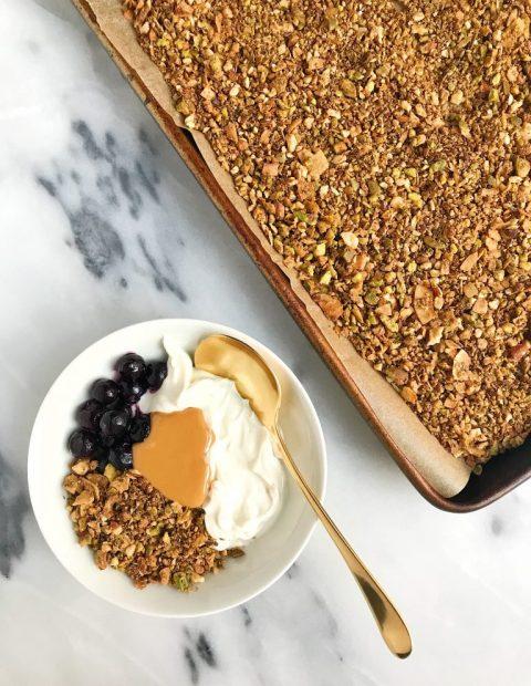 Pistachio Cacao Grain-free Granola (vegan + sugar-free) + Be Well Recap