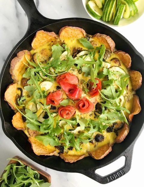 Veggie + Smoked Salmon Quiche with Sweet Potato Crust (Whole30)