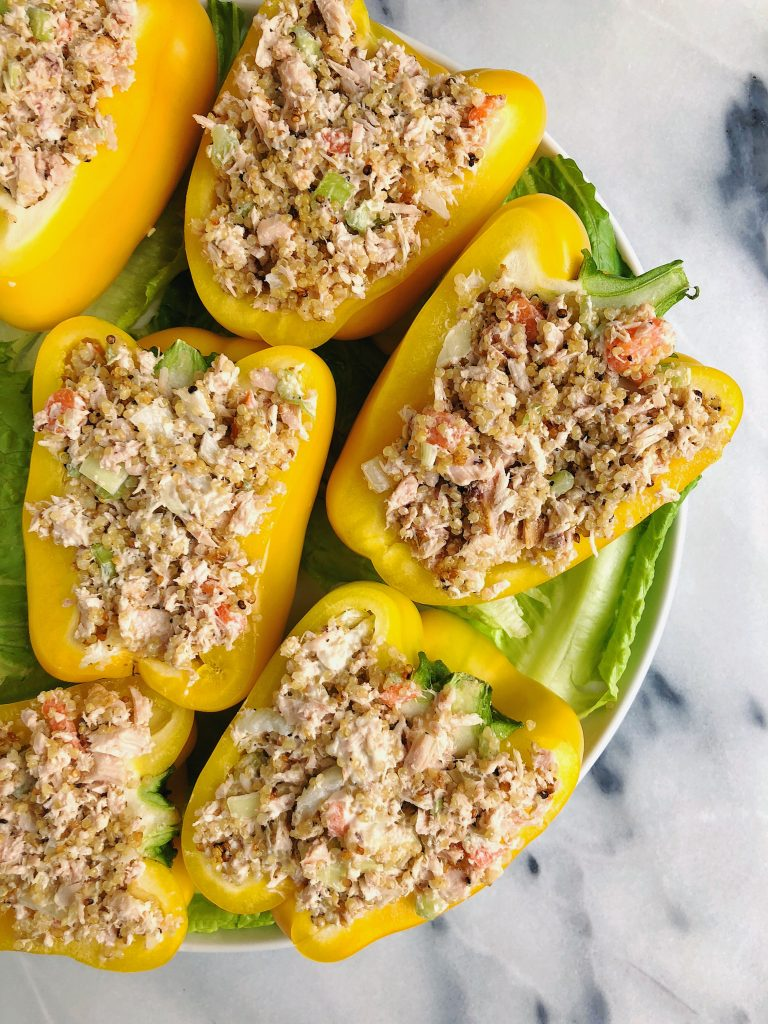 Quinoa Tuna Salad Stuffed Peppers made a few healthy gluten-free ingredient!