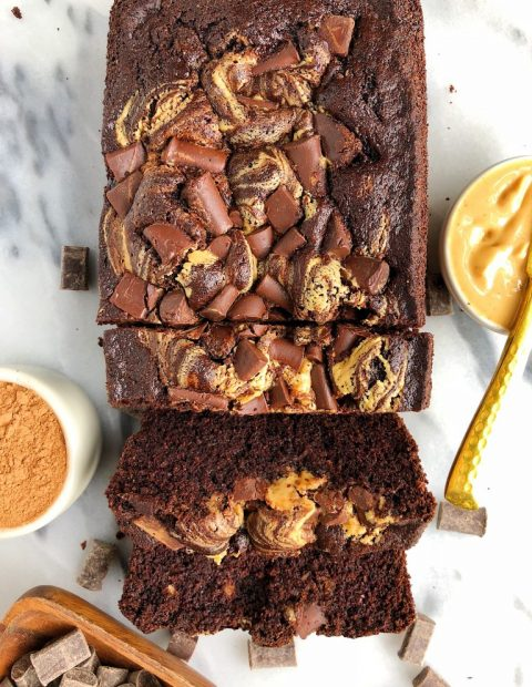 Double Chocolate Peanut Butter Brownie Loaf (gluten-free)