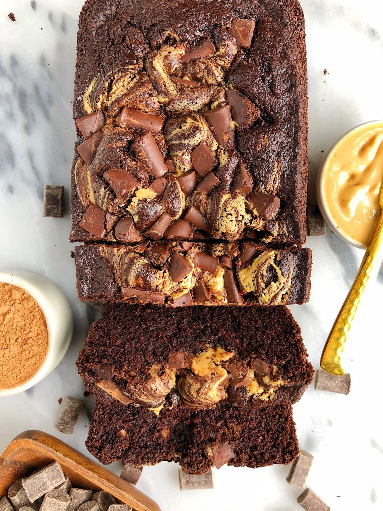 Double Chocolate Peanut Butter Brownie Loaf made with gluten, dairy and grain-free ingredients! A sweet and healthier dessert recipe!