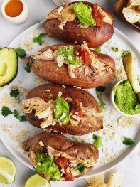 Buffalo Chicken Stuffed Sweet Potatoes (paleo +whole30)