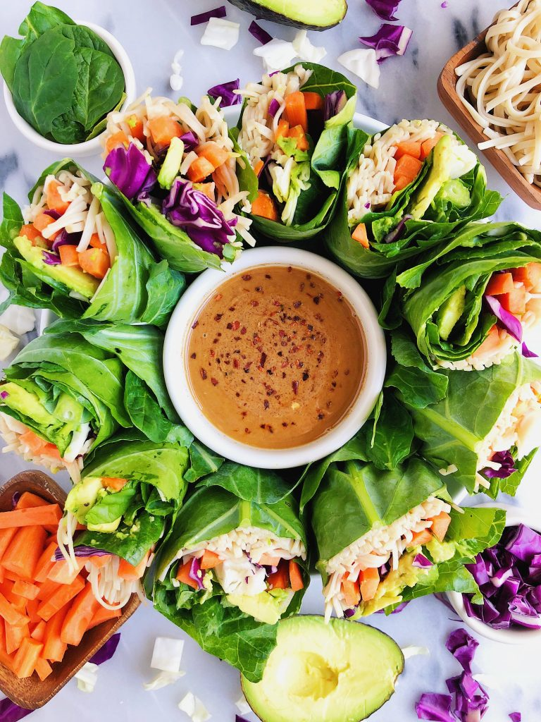 Vegan Rainbow Rolls with Spicy Almond Butter Sauce made with healthy and delicious ingredients!