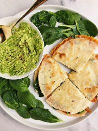 Sweet Potato + Greens Quesadilla (vegan)