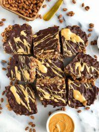 Healthier Nutty Chocolate Rice Krispie Treats (vegan + gluten-free)
