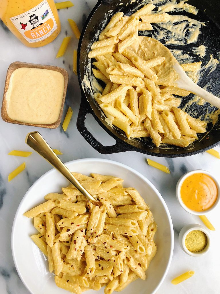 Vegetarian Buffalo Mac & Cheese made with gluten-free ingredients for a spicy twist on a classic recipe!