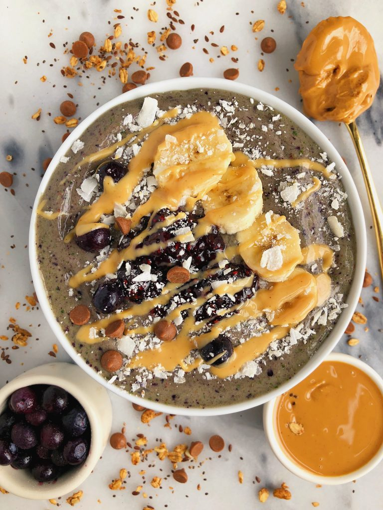 Peanut Butter & Jelly Smoothie Bowls packed with fruit and veggies for a vegan and gluten-free breakfast!