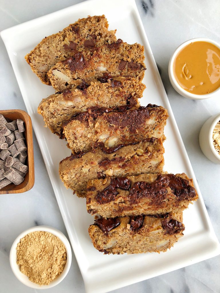 Vegan Chocolate Chip Peanut Butter Banana Bread made with gluten-free ingredients!