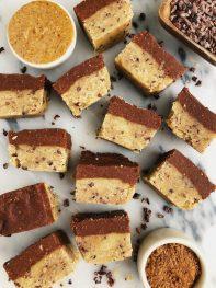 Healthier Chocolate Cookie Dough Fudge Bars (vegan + grain-free)