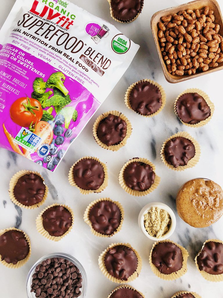 Crispy Dark Chocolate Almond Butter Cups made with vegan, gluten-free and healthy ingredients for asatisfying dessert!