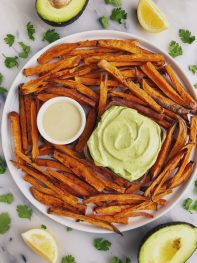 Baked Shoestring Sweet Potato Fries with Avocado Aioli (vegan + gluten-free)