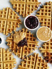 Crispy Peanut Butter & Jelly Stuffed Waffles (vegan)