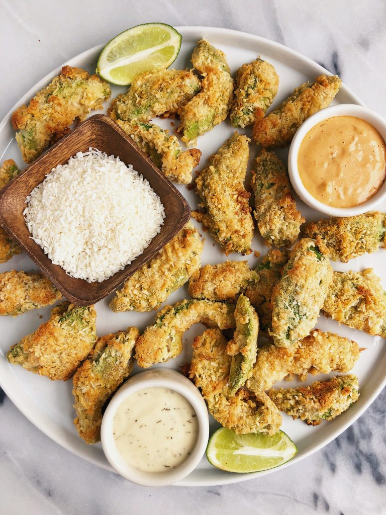 Crispy Baked Avocado Fries made with gluten-free and vegan-friendly ingredients for crispy baked avocado goodness!