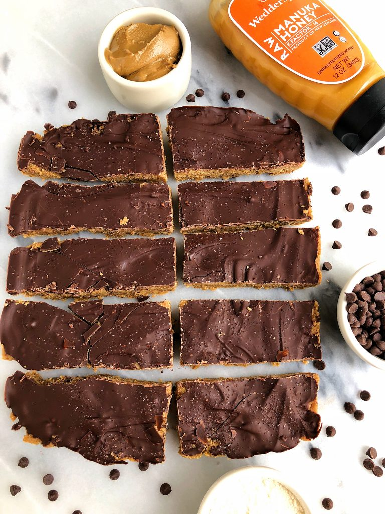 Dark Chocolate Tahini Freezer Bars made with nut-free, gluten-free and grain-free ingredients for an easy and healthy dessert!
