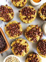 Golden Chocolate Chip Banana Bread Muffins (vegan + gluten-free)