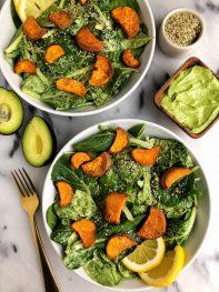 Avocado Greens Caesar Salad with Sweet Potato Croutons