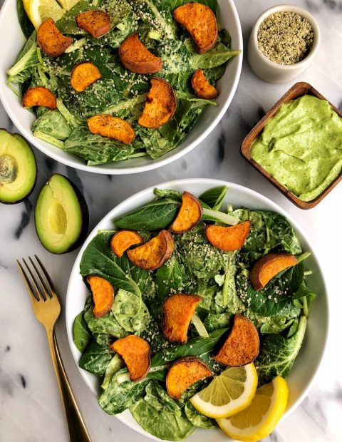Avocado Greens Caesar Salad with Sweet Potato Croutons