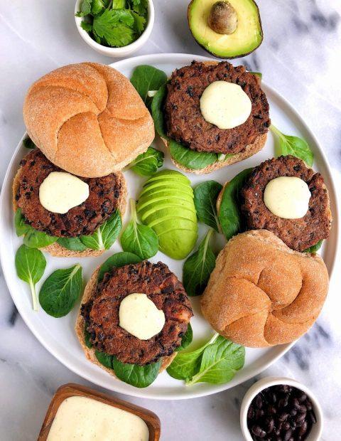 Vegan Black Bean Burgers with Spicy Aioli (gluten-free)