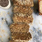 Simply Epic Homemade Flaxseed Bread made with flaxseeds, sprouted oats, chia seeds and other healthy and nutritious ingredients for an easy homemade bread ready in less than 30 minutes!