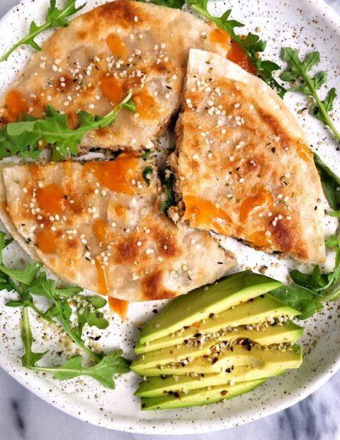 Super Simple Spicy Salmon Quesadilla (gluten-free)