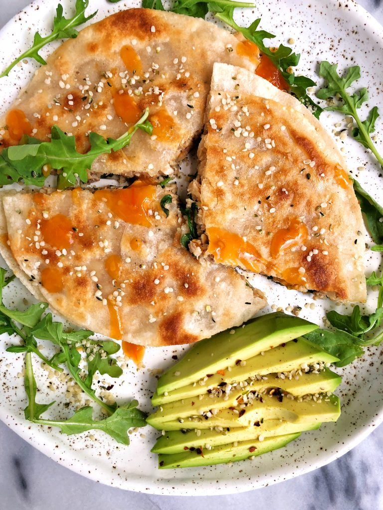 Super Simple Spicy Salmon Quesadilla made with gluten-free ingredients for a healthier quesadilla recipe!