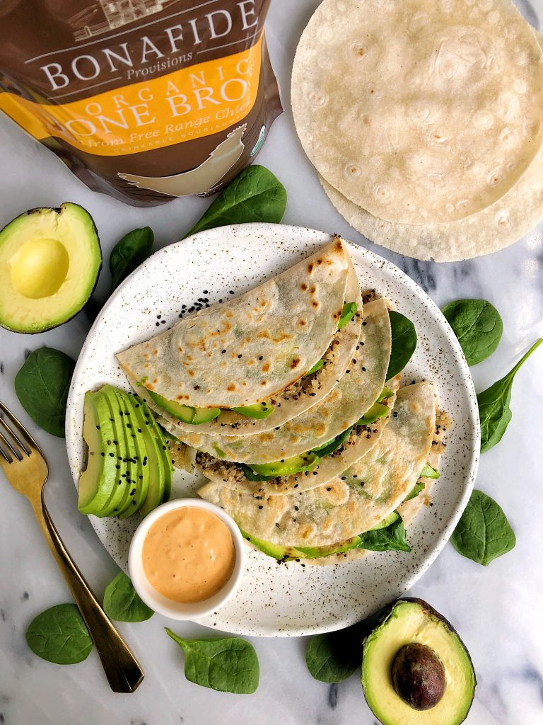 Crispy Pan Fried Quinoa Avocado Tacos made with gluten-free and dairy-free ingredients plus they are cooked with organic bone broth for extra nutrition and flavor!