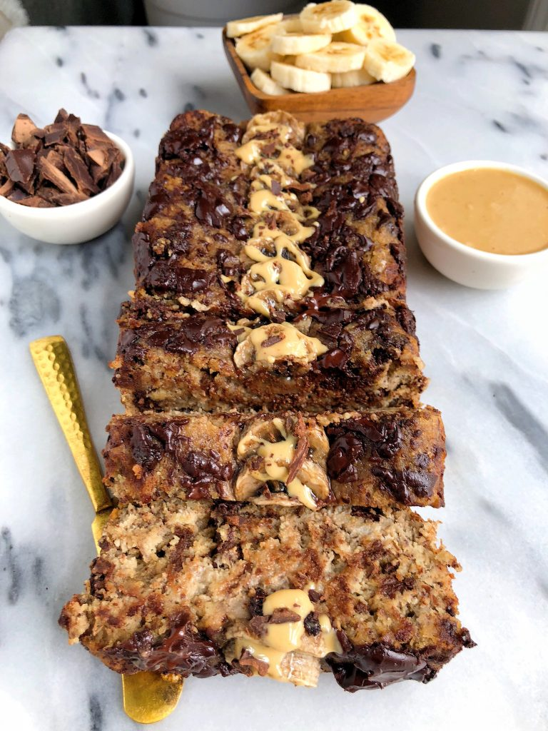 Paleo Chocolate Chunk Tahini Banana Bread made with all dairy-free, gluten-free ingredients with no refined sugars!