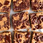 One-Bowl Dark Chocolate Tahini Blondies made with vegan, nut-free, gluten-free and no refined sugars! So cakey and delicious!