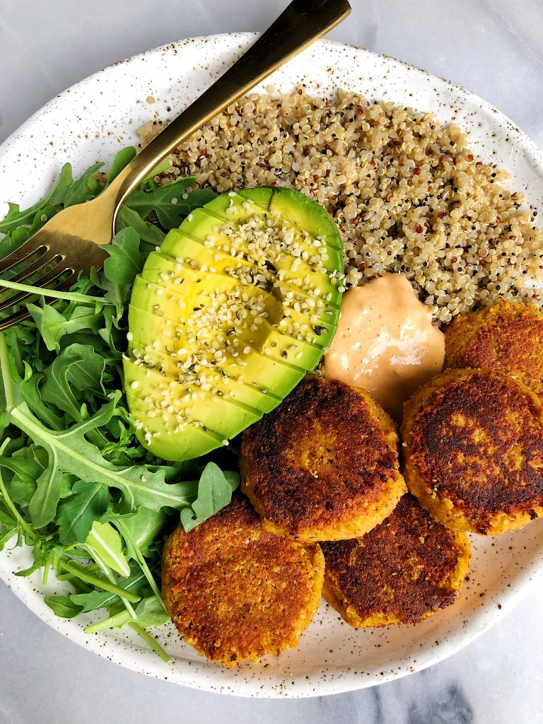 Chickpea-less Sweet Potato Falafels made with grain-free ingredients for an easy and delicious vegan-friendly recipe!