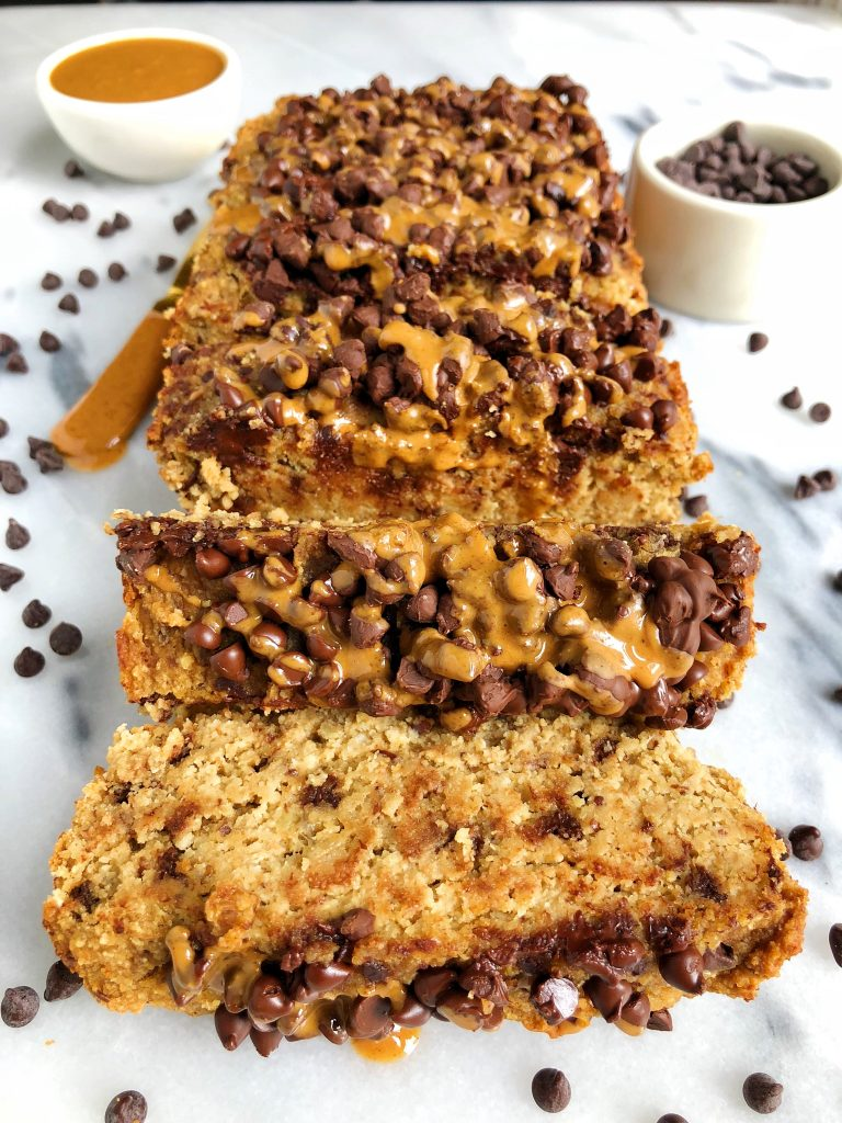 Gluten-free Chocolate Chip Banana Apple Bread made with all plant-based and grain-free ingredients for a sweet banana apple loaf with dreamy dark chocolate chips!