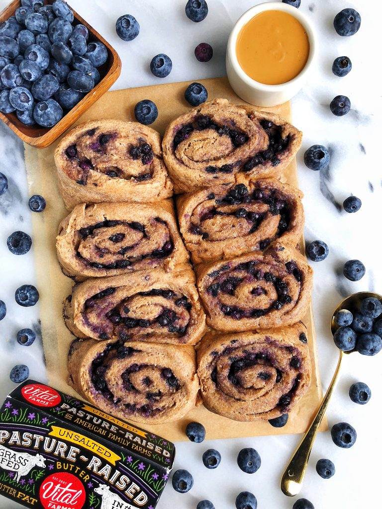 Healthy Homemade Blueberry Cinnamon Rolls made with gluten-free and refined sugar-free ingredients and filled with a dreamy blueberry filling!