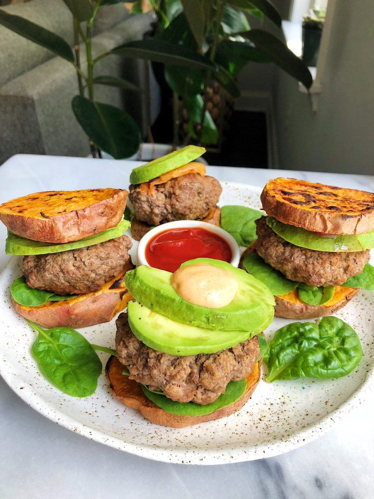 Paleo Sweet Potato Bun Lamb Burgers for an easy a delicious whole30 recipe!
