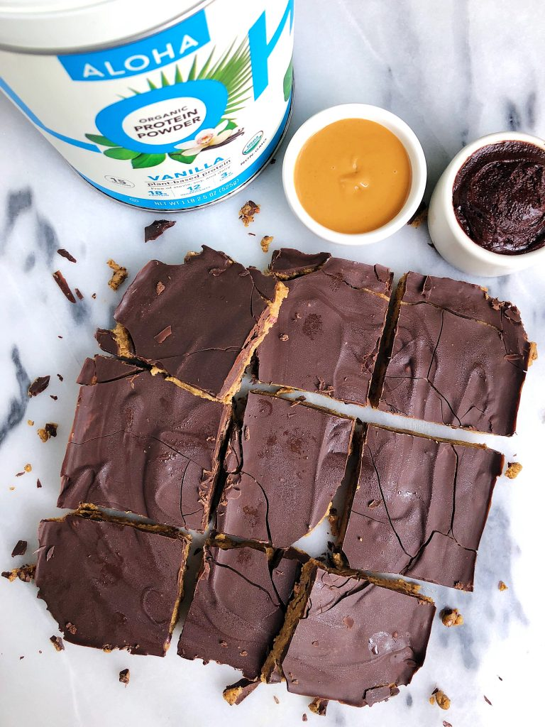 Golden Chocolate Cookie Dough Crack Bars made with plant-based and gluten-free ingredients for a delicious cookie dough snack!