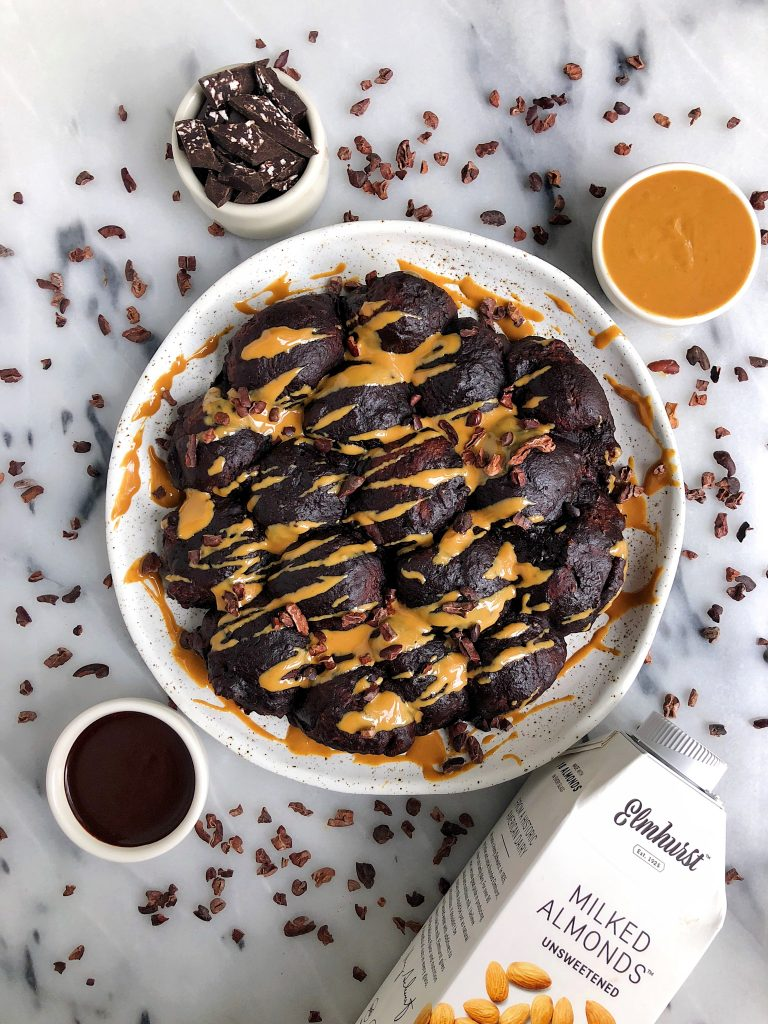 Vegan Double Chocolate Peanut Butter Monkey Bread made with gluten-free ingredients for an easy and delicious homemade monkey bread. Great for a sweet breakfast, brunch or snack!