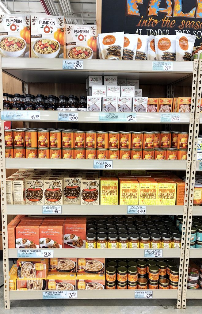 if you are anything like me, I stock up on organic canned pumpkin all year around. Trader Joe's sells my favorite and I think it is the best consistency. It is great for baking and cooking so many different things and is super versatile. This is usually found in their baking section.