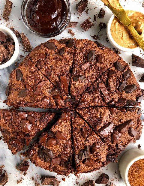 Paleo Deep Dish Double Chocolate Chunk Brownies