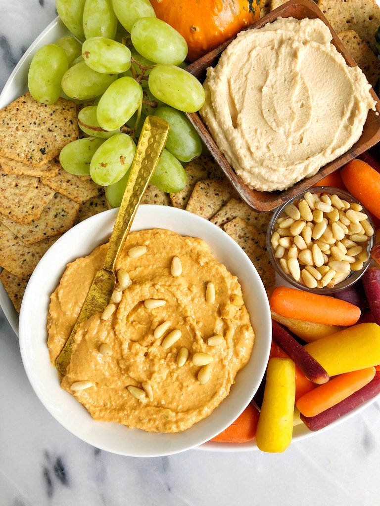 5-ingredient Butternut Squash Hummus made with all gluten-free, dairy-free ingredients for an easy homemade hummus with no chickpeas!