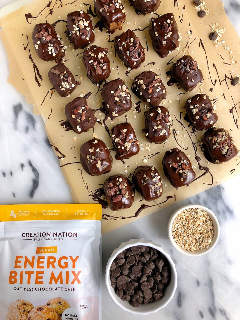 Vegan Chocolate Chip Oatmeal Cookie Truffle Bars made with gluten-free ingredients and sweetened with dates for a delicious easy cookie truffle!