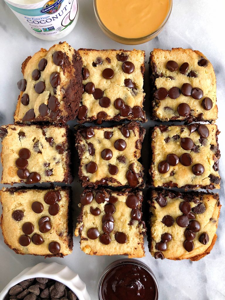 "Gluten-free Chocolate Chip Cookie Brownies made with dairy-free ingredients for an easy and healthier ""brookie"" recipe"