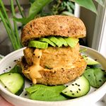 Oven-Baked Dijon Salmon Burgers made with just five gluten-free and dairy-free ingredients for an easy healthy dinner recipe!