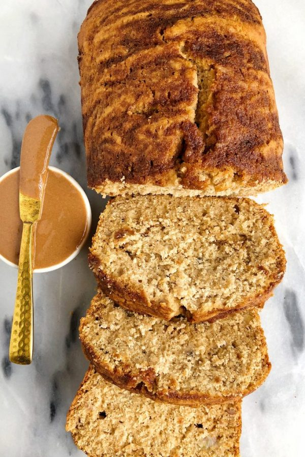 Vegan Cinnamon Roll Banana Bread (gluten-free + nut-free)