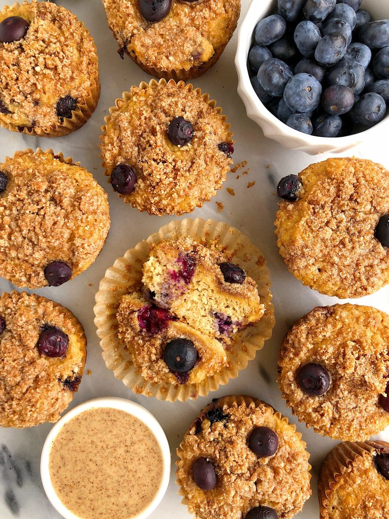Paleo Blueberry Crumb Muffins made with gluten-free, dairy-free and grain-free ingredients for an easy and healthy crumb cake muffin!