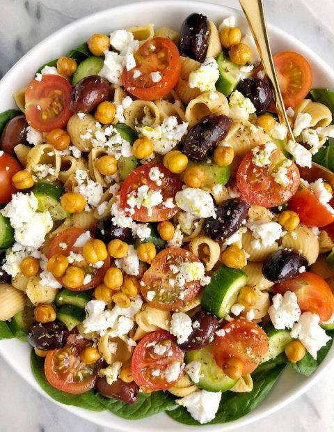 Healthy and Hearty Greek Veggie Pasta Salad (gluten-free)