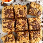 Chocolate Chunk Oatmeal Cookie Carrot Cake Bars made with gluten-free and dairy-free ingredients for a twist on oatmeal cookies and carrot cake!