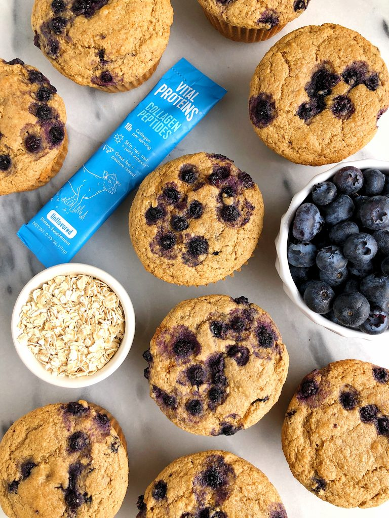 Gluten-free Bakery-Style Blueberry Muffins made with all nut-free and egg-free ingredients for an easy and healthy blueberry muffin recipe!