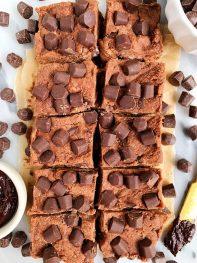 Vegan Chocolate Chunk Brownie Batter Fudge Squares (gluten-free + paleo)
