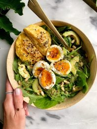6-minute Jammy Soft-Boiled Eggs in Bone Broth (extra flavorful!)