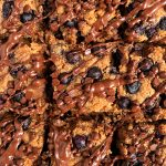 Vegan Blueberry Chocolate Chip Cookie Dough Bars made with gluten-free and grain-free ingredients for an easy and healthy cookie bar recipe!