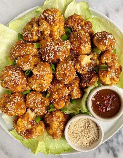 Maple Sesame Glazed Cauliflower Wings (gluten-free + soy-free)
