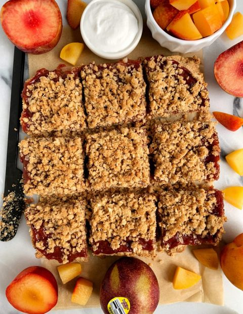 Healthy Fruit Crumble Bars with Oatmeal Crumb Topping